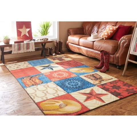 Mohawk Home Western Square Cowboy Area Rug
