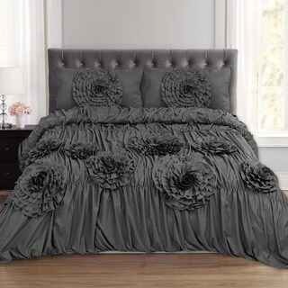 Scarlett Fancy Floral 3 Piece Duvet and Pillow Sham Set (Queen, King) Grey