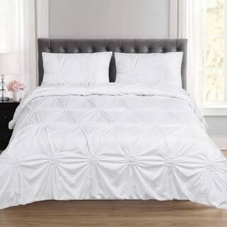 Sensation Fancy Pintuck 3 Piece Duvet And Pillow Sham Set Queen King White