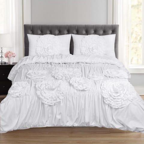 Scarlett Fancy Floral 3 Piece Duvet and Pillow Sham Set (Queen, King) White
