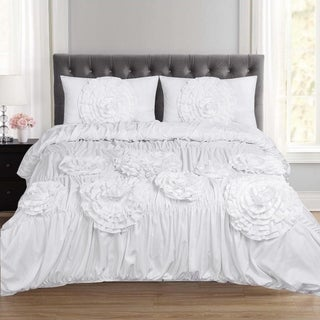 Scarlett Fancy Floral 3 Piece Duvet and Pillow Sham Set (Queen, King) White