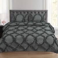 Tatiana Fancy Ribbed Lattice 3 Piece Duvet and Pillow Sham Set (Queen, King) Grey
