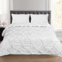 Tatiana Fancy Ribbed Lattice 3 Piece Duvet and Pillow Sham Set (Queen, King) White