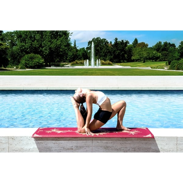 Shop Prosource Yoga Mats 3 16 5mm Thick For Comfort Stability W Exclusive Printed Design Tao Red Free Shipping On Orders Over 45 Overstock 21025423