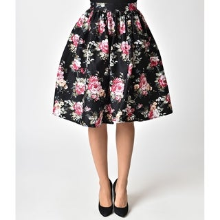 Unique Vintage Black & Multi Floral High Waist Swing Skirt