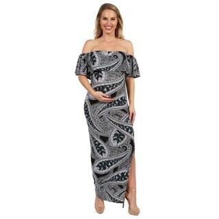 24Seven Comfort Apparel Gabriella Strapless Paisley Maternity Maxi