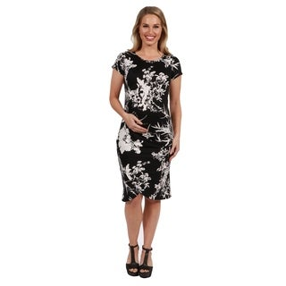 24Seven Comfort Apparel Diana Black and White Maternity Dress