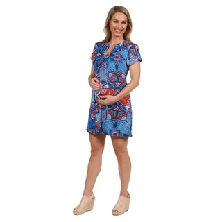 24Seven Comfort Apparel Monica Red and Blue Maternity Mini Dress (More options available)