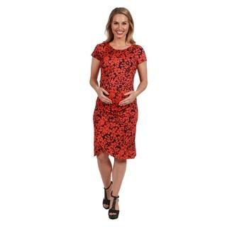 24Seven Comfort Apparel Jessie Orange and Black Maternity Shift Dress