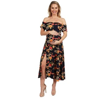 24Seven Comfort Apparel Eleanor Navy Floral Side Slit Maternity Dress (More options available)