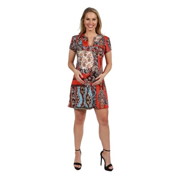 9785ee039f293 Shop 24Seven Comfort Apparel Orange and Turquoise Maternity Mini ...