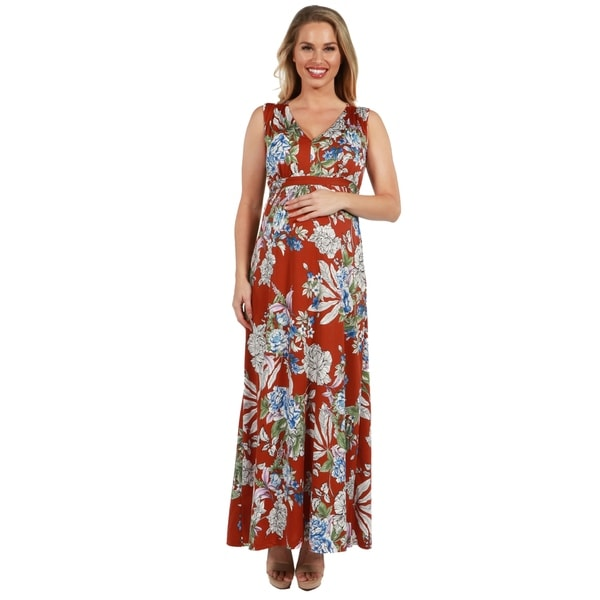 24Seven Comfort Apparel Sleeveless Rust Floral Maternity Maxi Dress