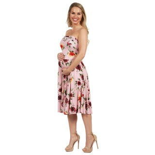 24Seven Comfort Apparel Melina Pink Floral Strapless Maternity Dress (More options available)