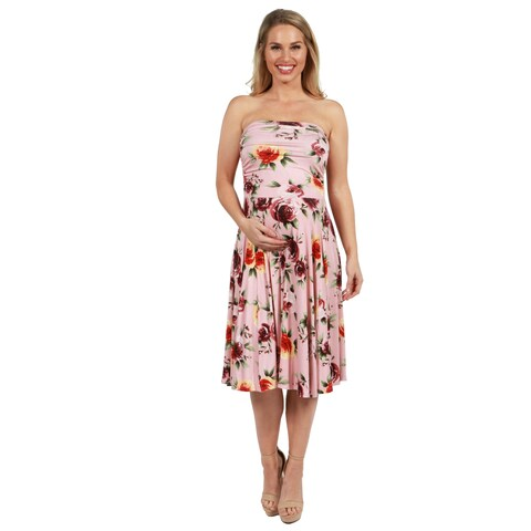 24Seven Comfort Apparel Melina Pink Floral Strapless Maternity Dress