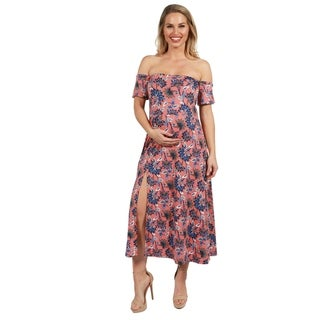 24Seven Comfort Apparel Pink and Blue Floral Maternity Dress (More options available)