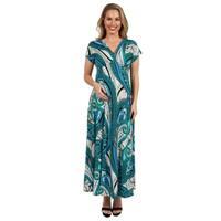 24Seven Comfort Apparel Green and Blue Empire Maternity Maxi Dress