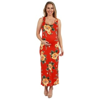 24Seven Comfort Apparel Kathy Orange Floral Maternity Maxi Dress