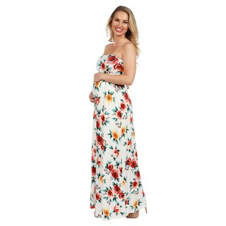 24Seven Comfort Apparel Lindsey Strapless White Floral Empire Waist Maternity Maxi Dres (More options available)