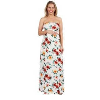 24Seven Comfort Apparel Lindsey Strapless White Floral Empire Waist Maternity Maxi Dres