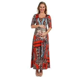 24Seven Comfort Apparel Orange and Turquoise Maternity Maxi Dress