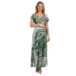 24Seven Comfort Apparel Short Sleeve Green Print Empire Maternity Maxi