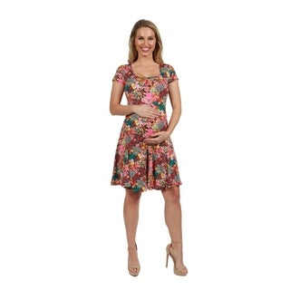 24Seven Comfort Apparel Pink Floral Fit and Flare Maternity Mini Dress