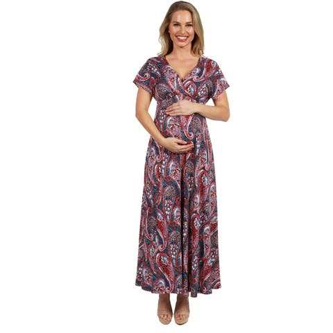 24Seven Comfort Apparel Paisley Empire Waist Maternity Maxi Dress