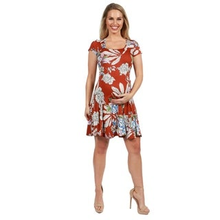 24Seven Comfort Apparel Orange Short Sleeve Maternity Dress