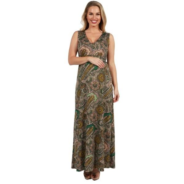 24Seven Comfort Apparel Zooey Empire Waist Maternity Maxi Dress