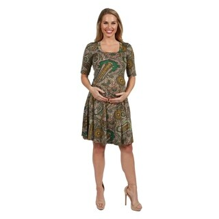 24Seven Comfort Apparel Lorna Green Paisley Maternity Dress