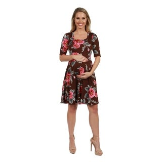 24Seven Comfort Apparel Gemma Brown Floral Maternity Knee Length Dress