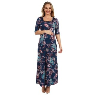 24Seven Comfort Apparel Katerina Aqua Swirl Maternity Maxi Dress