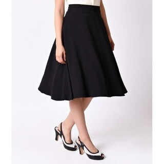 Unique Vintage Black High Waist Vivien Swing Skirt