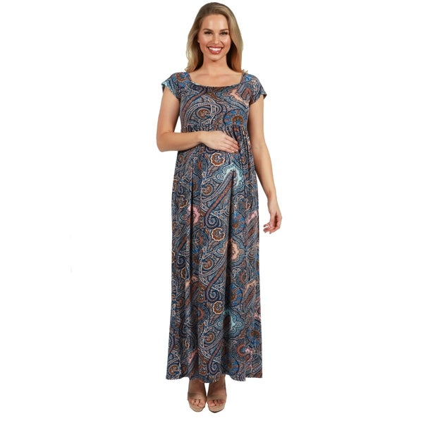 6fa29916deef4 24Seven Comfort Apparel Blue Paisley Empire Waist Maternity Maxi Dress