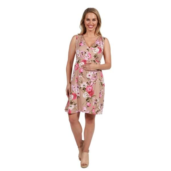 74456b2fca8e4 24Seven Comfort Apparel Lauren Brown and Pink Floral Empire Waist Maternity  Dress