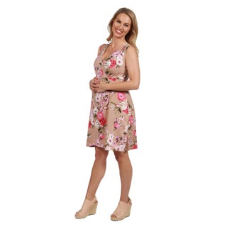 24Seven Comfort Apparel Lauren Brown and Pink Floral Empire Waist Maternity Dress (More options available)
