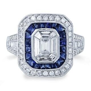 Annello by Kobelli 14k White Gold 2 1/3ct TGW Invisible Set Emerald Diamond and Sapphire Cabochon Double Halo Octagonal Ring - 7