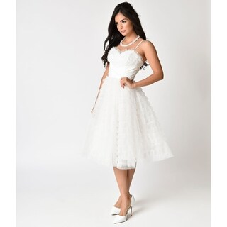Unique Vintage White Ruffled Tulle Sweetheart Cupcake Swing Dress