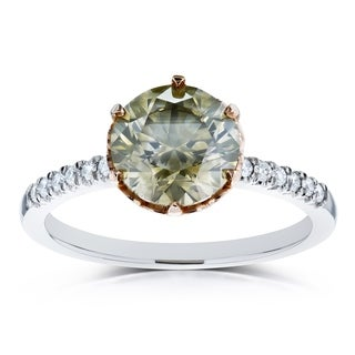 Annello by Kobelli 18K Two Tone Gold 2 1/3ct TGW Fancy Champagne Brown and White Diamond Ring (Certified)