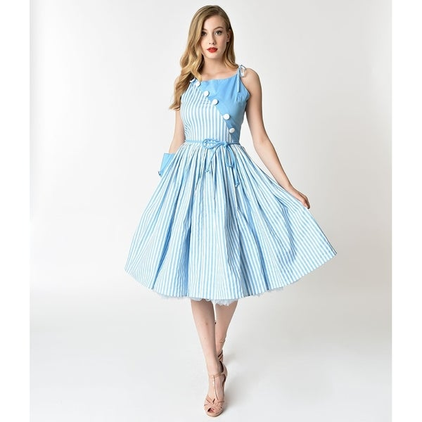 10156f95beda8 Shop Unique Vintage Light Blue & White Stripe Hamilton Swing Dress ...