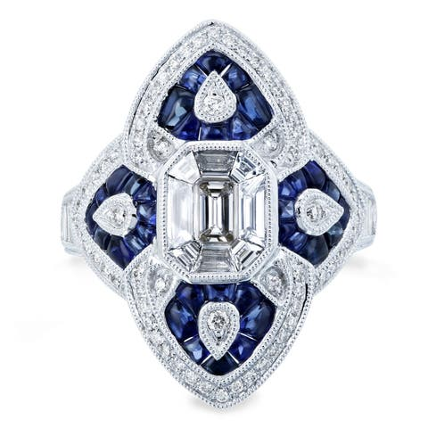 Annello by Kobelli 14K White Gold 2 1/2ct TGW Diamond and Sapphire Cabochon Ornate Long Pointed Ring - Size 7