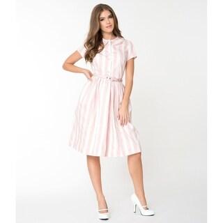 Unique Vintage Pink & White Striped Regina Shirtdress