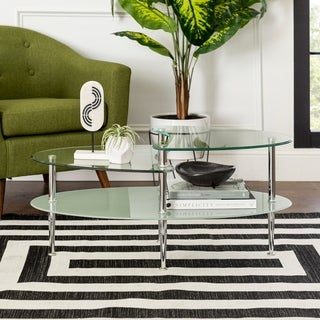 Clay Alder Home Wallace Oval Coffee Table with Frosted Glass