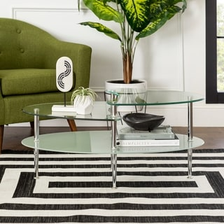 Porch & Den Wallace Oval Coffee Table with Frosted Glass - 38 x 20 x 17h