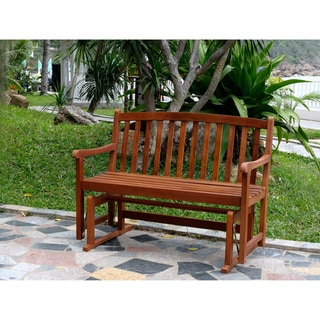 Link to Roseland Acacia Hardwood Glider Bench by Havenside Home Similar Items in Patio Furniture