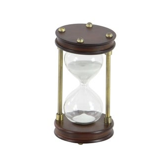 Rustic 6 x 4 Inch Wood and Iron Hourglass Sand TImer by Studio 350