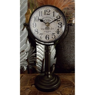 Copper Grove Chatfield Metal Table Pedestal Clocks (Set of 2)