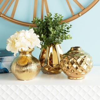 "Round Metallic Gold Pots with Textural Finishes Set of 3 6"" x 6"""