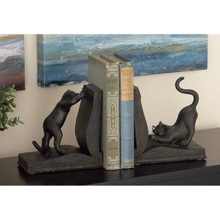 Copper Grove Chatfield Polystone Cat Bookend Pair For Books Lovers