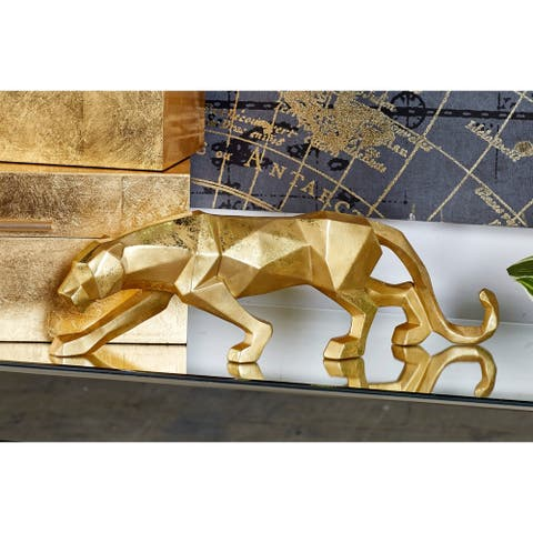 "Large Modern Style Metallic Gold Leopard Statue Table Decor 18"" x 6"""